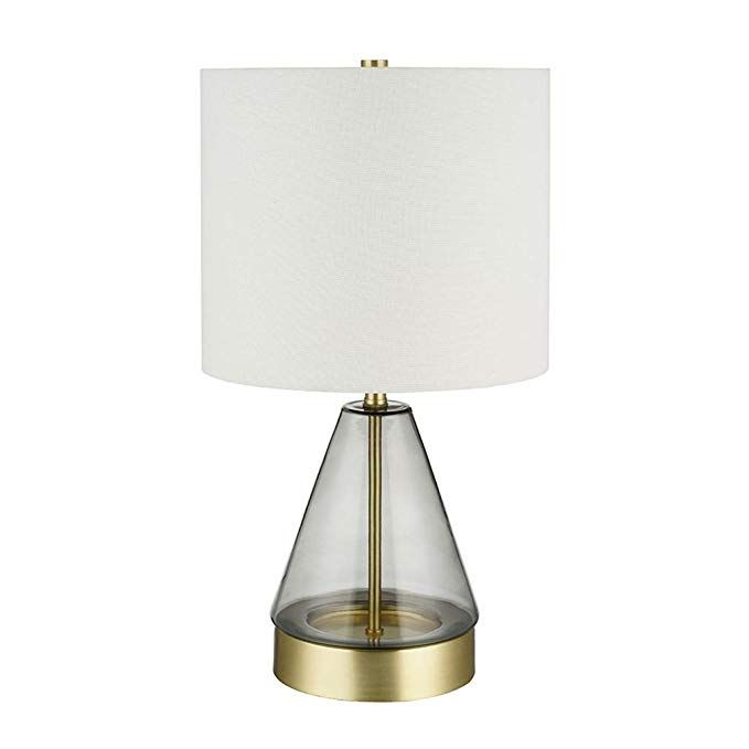 Rivet Modern Glass Table Lamp With Bulb 16 63 H Smoked Gray And