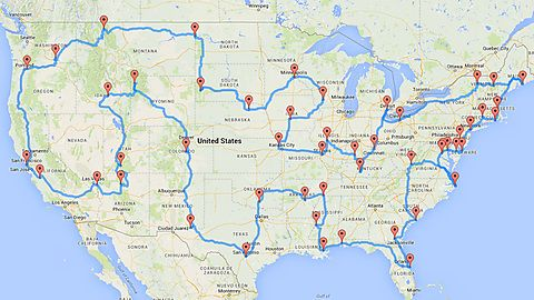 """When you have 2-3 months to spare, a Michigan State University student developed an optimal route to drive all across the US and hit 50 major landmarks in the 48 contiguous states (two in California and one in D.C.).  sauce: <a rel=""""nofollow"""" target=""""_blank"""" ..."""