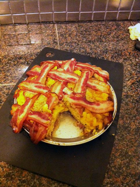 Home made mac n cheese pie with a bacon crust then topped with crunchy bacon lattice. Now that's a definate to do. Thank you!