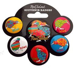 Pack of 6 Kiwi Bird Button Badges - badges, take, pack, kiwi, bird, nz, great, value, ... - Shopenzed.com