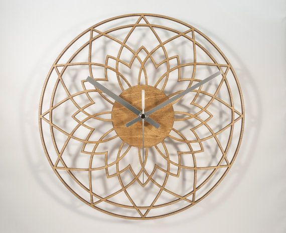 Wooden wall clock -  laser cut & hand finished by us in our home workshop.