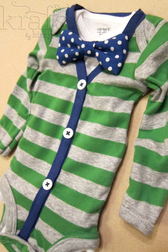 Baby Boy Outfit - Green/Gray Stripe with Blue Cardigan & Onesie with Removable Blue Polka Dot Bow Tie via Etsy