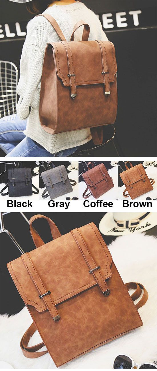 Which color do you like? Retro Brown Metal Lock Match Large Scrub High School Bag Matte Square PU Backpack #backpack #school #bag #brown #college #retro #vintage #large