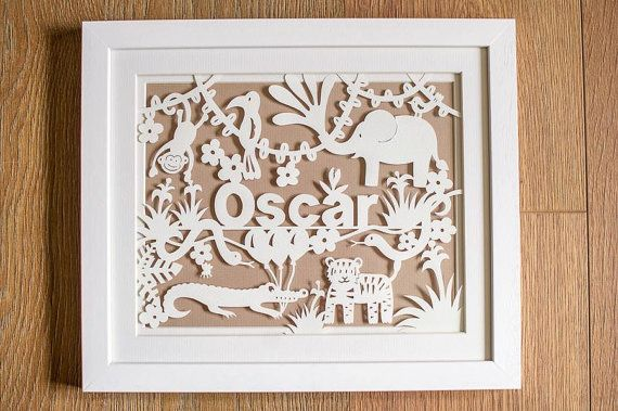 Personalised New Born Jungle Animal Papercut by papercutperfection