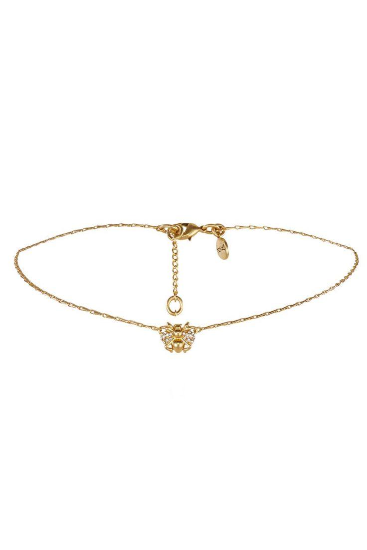 FOR LOVE & LEMONS - Delicate Bee Choker - Gold