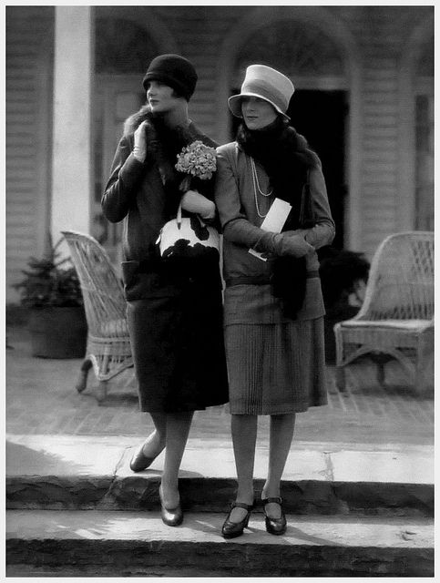 Model at left in a wool suit by Molyneux, the one at right in a two-piece dress by Drecoll, 1926