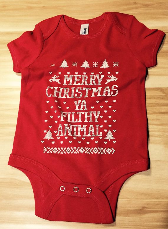 Merry Christmas You Filthy Animal! baby onesies funny onesies baby bodysuits baby shower christmas gift