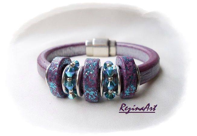 Metál világos lila regaliz karkötő