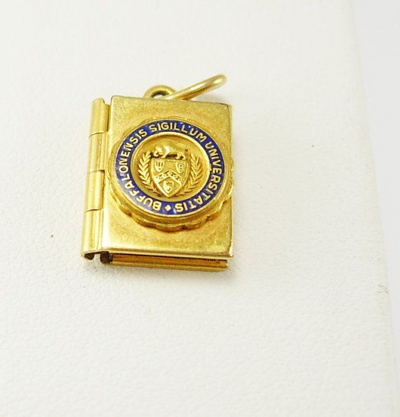 Vintage College Photo Book Locket Gold Filled Pendant New York Buffalo University Tiffany New York Professor Education