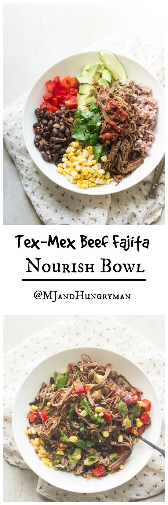 Tex-Mex Beef Fajita Nourish Bowl + many 2-for-1 recipes // The Adventures of MJ and Hungryman
