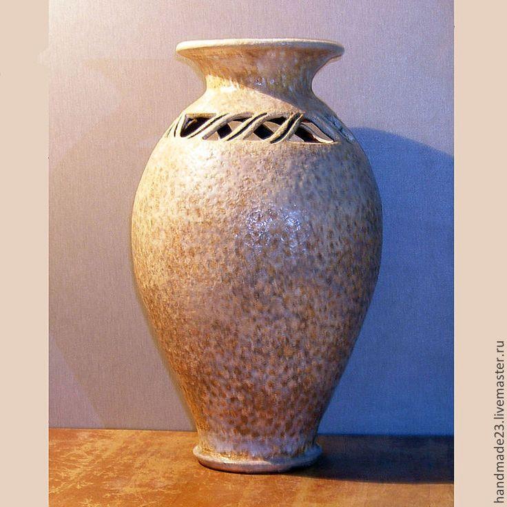 """Купить ваза """"пляж"""" - ваза для цветов, интерьер, гончарная керамика, авторская ручная работа, глина"""
