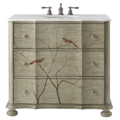 Home Decorators Collection 37 In W Chirp Bath Vanity In Pewter With Faux Sto