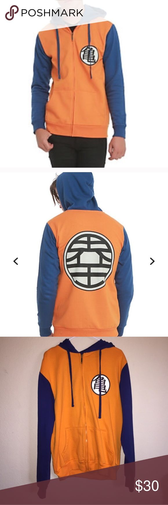 Dragon Ball Z Zip up Hoodie XL from Hot Topic This was my son-in-law's he got it as a gift but only wore it once. Washed and perfect condition. Originally $50 according to Hot Topic's site. Offers welcome. Hot Topic Sweaters Zip Up