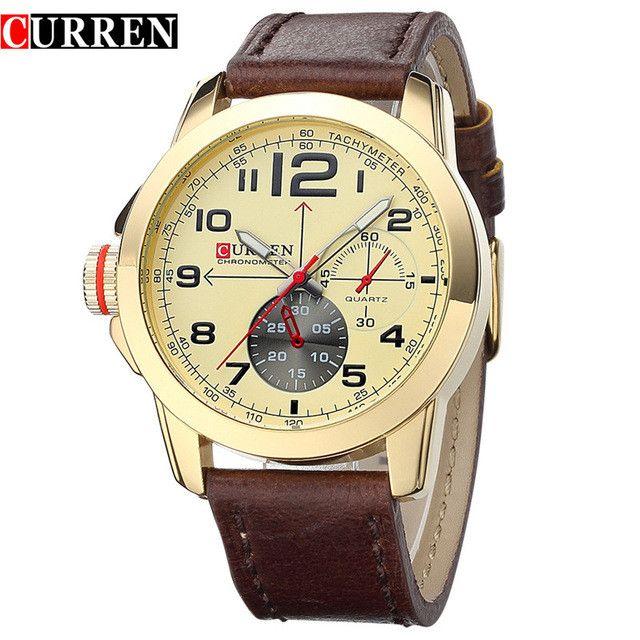 Brand CURREN men's Casual Watch male fashion Quartz wristwatch Sport thick Leather Wristwatches Business
