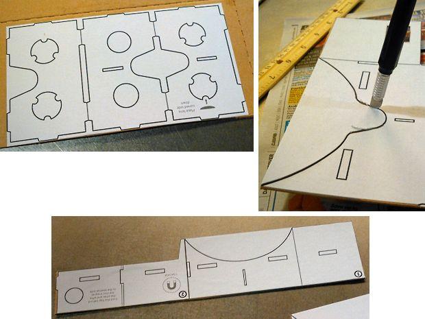 DIY Google Cardboard viewer - cutting cardboard