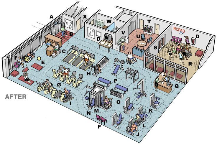 Small fitness center floor plan gurus floor for Gym design layout