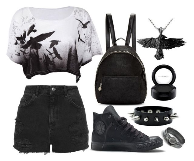 """Raven Grunge"" by psycho-doodle-bug ❤ liked on Polyvore featuring STELLA McCARTNEY, Topshop, Converse, MAC Cosmetics, black, grunge, goth and Raven"