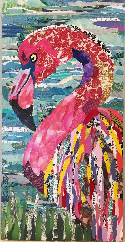 Flamingo torn paper collage.