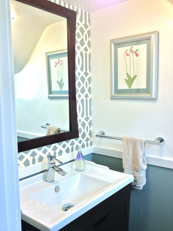 Powder Room With Silver Wallpaper And New Chair Rail By