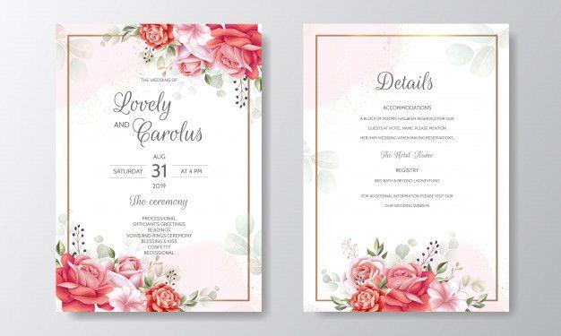 Beautiful Floral Frame Wedding Invitation Card Template Wedding Invitation Cards Wedding Invitations Flower Wedding Invitation