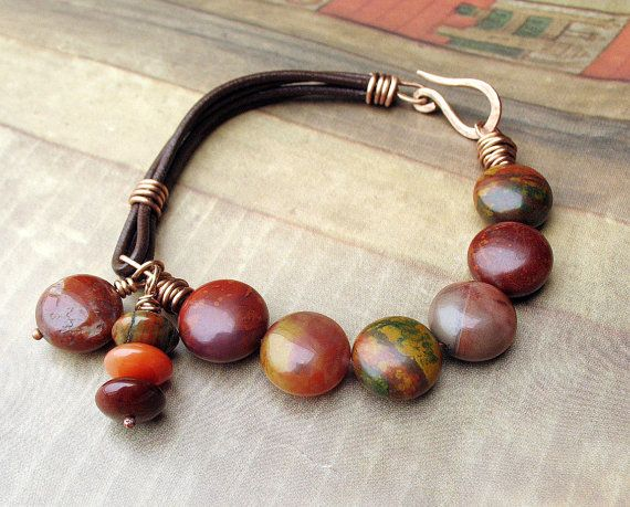 Beaded Leather Bracelet Rust Olive Brown by BacaCaraJewelry, $59.00