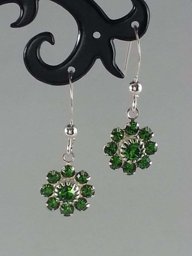 Moss green Swarovski earrings on sterling silver earrings