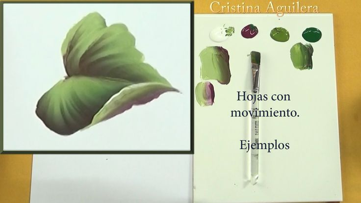 Pintar hojas con movimiento One Stroke , paint leaves motion