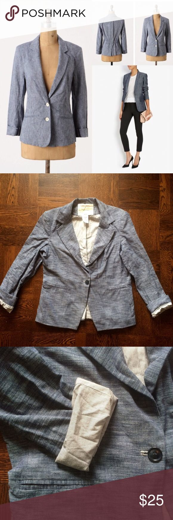 Anthropologie  Cartonnier Chambray Blazer This is a chambray blazer from Anthropologie. It is the single button version of the first pic. No elastic in the back. It is made to be worn with the sleeves cuffed to show the cute striped lining. No signs of wear except a couple of stains shown in the 4th pic. I think they will come out with cleaning. Sizing is a bit small for a large, but it would look great as a slightly oversized blazer with skinny cropped ankle pants. Hidden snap button above…