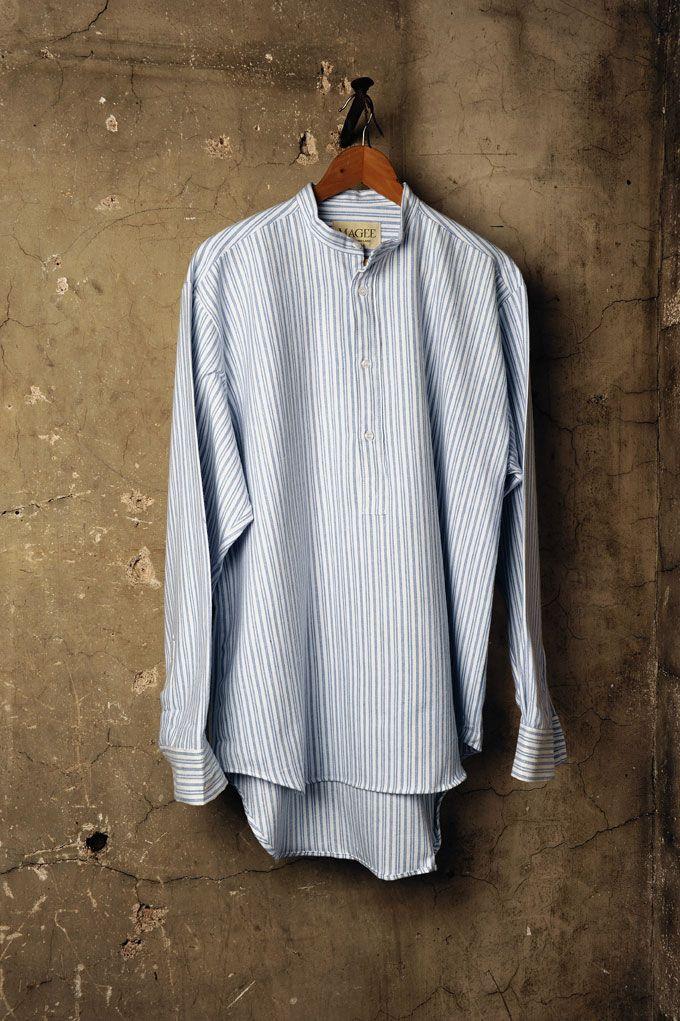 Period house's blue grandad Shirt.