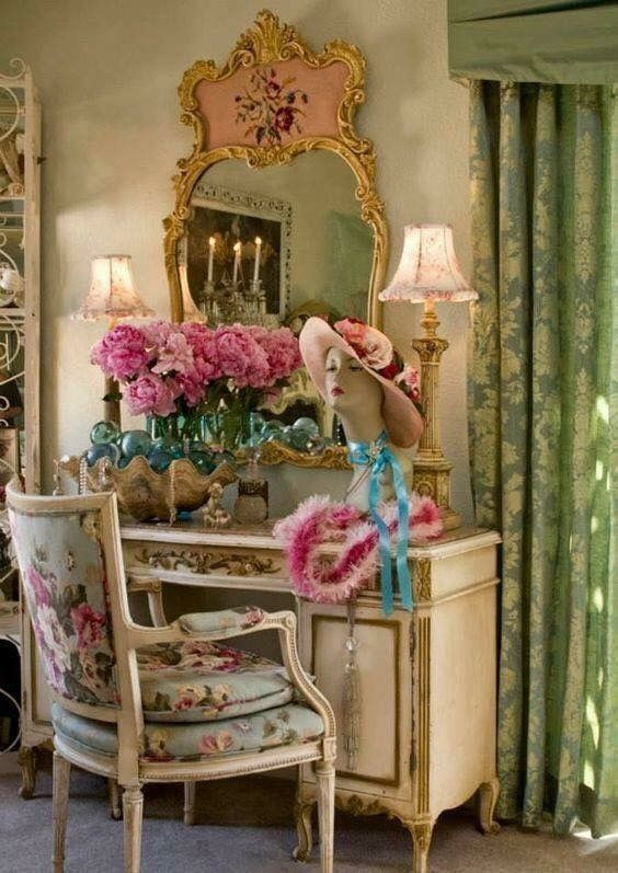 Beautiful French vanity table, mirror,  and chair. LOVE the French mirror!