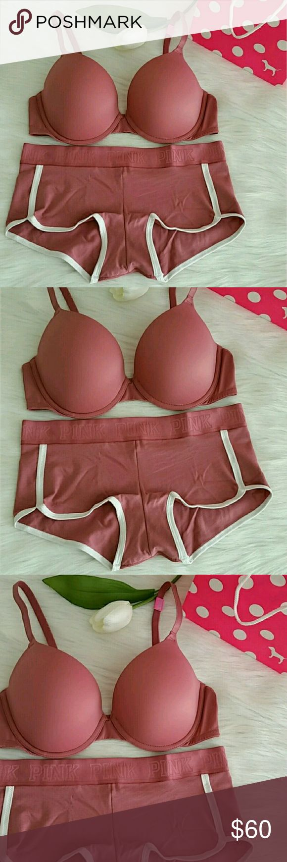 Nwt Pink Vs Push-up Bra + Boyshort. Brand new pink victoria secret push up Bra + Boyshort . Bra size 34B,  36C ,34D Boyshort Size Small ,Medium or Large.  Color soft begonia.  Smoke and pet free home.  FAST SHIPPING+ EXTRA GIFT.   I don't trade hun.  AVAILABLE. PINK Victoria's Secret Intimates & Sleepwear Panties