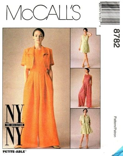 McCall's 8782 Bolero, Dress & Wide Legged Jumpsuit 1997