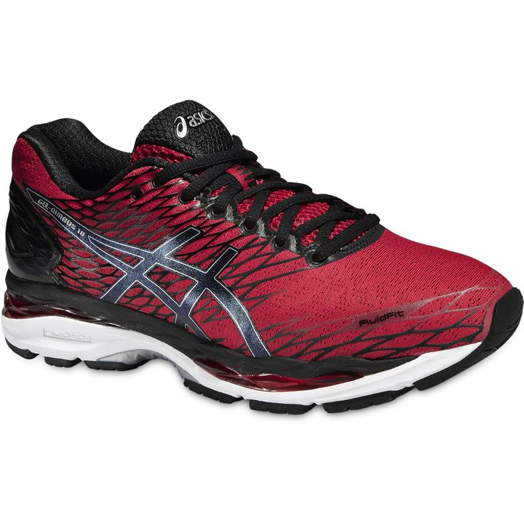 1d218960bd2a1 Asics Gel-Nimbus 18 Red Black Shoes Knock off the kilometres in the GEL-NIMBUS  the long-distance running shoe with huge amounts of cushioning.