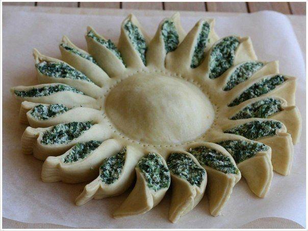 Пирог-солнце со шпинатом. Пошаговый рецепт   Домохозяйка