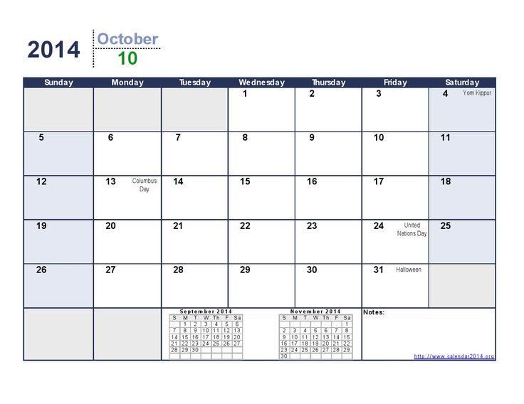 calendar printable october 2014   October 2014 Calendar Printable