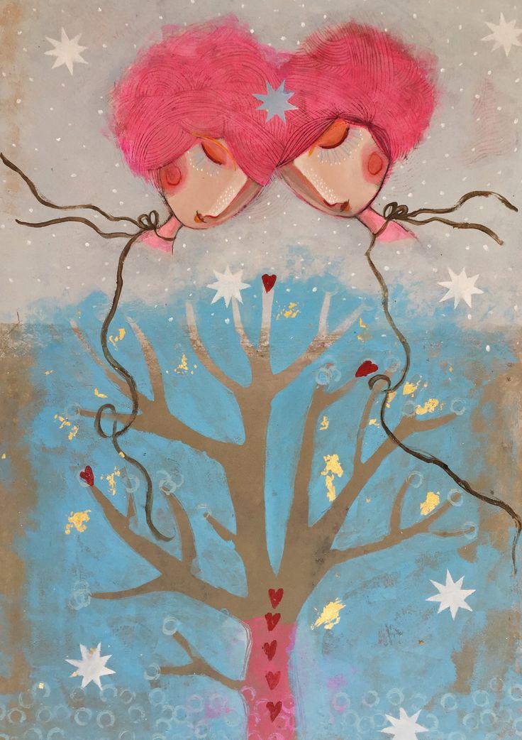 "Camilla Hyllén 2016 www.camillahyllen.com ""Dreams"" Acrylic on cardboard 50x70 cm"