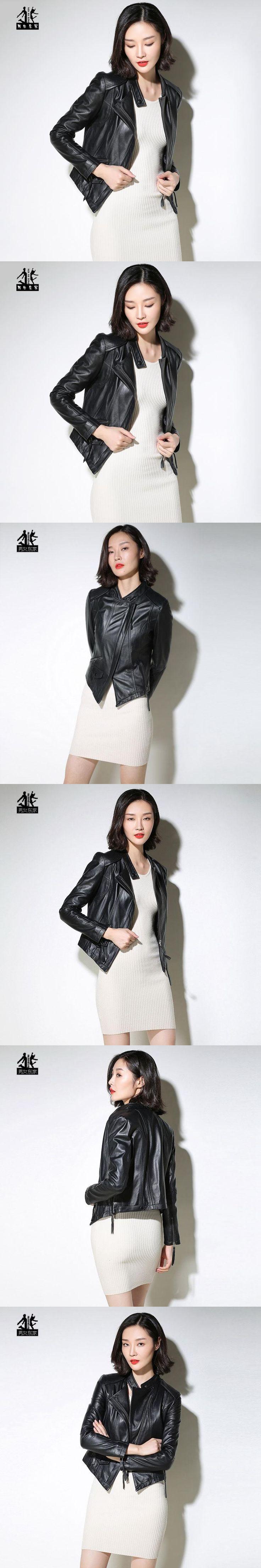 2017 Black Genuine Leather Coat Women Stand Collar Slim Fit Fashion Popular Real Sheepskin Female Leather Jacket FREE SHIPPING