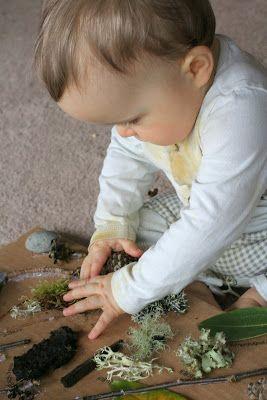 Je neemt allerlei natuurmaterialen en kleeft dit op een karton. Je laat de baby/peuter kennismaken met de natuur en het aanvoelen van verschillende materialen. Je kunt er ook prenten bij nemen om te laten zien van welke boom/plant dat materiaal is. Dit stimuleert het denkvermogen.