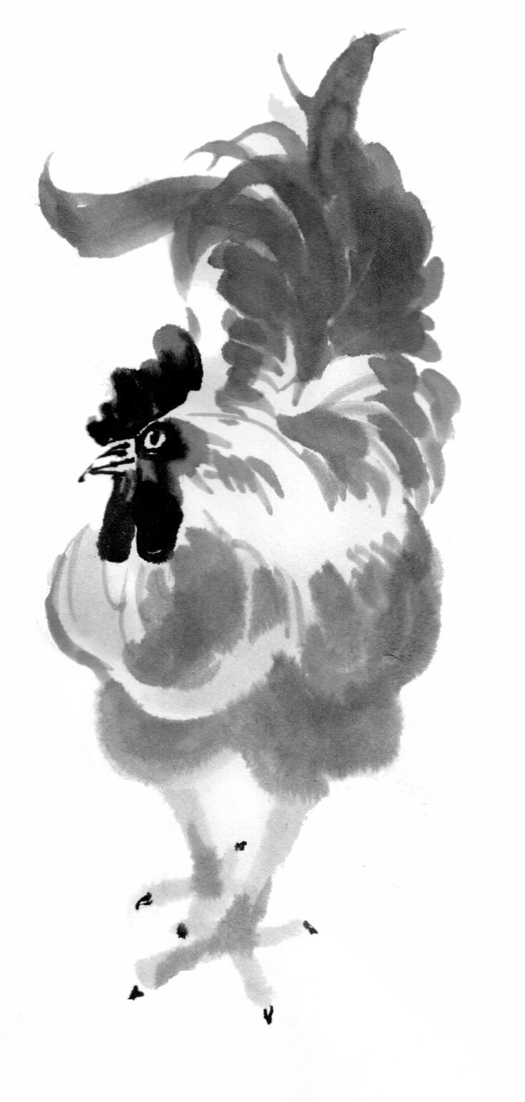 Sumi-e painting of a rooster by Rob Komala