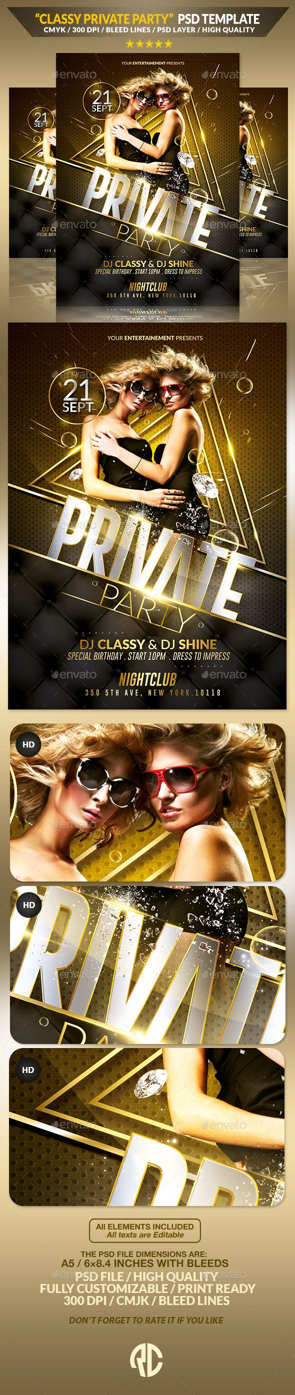 Luxury Private Party | Flyer Template #templates #graphicriver #envato…