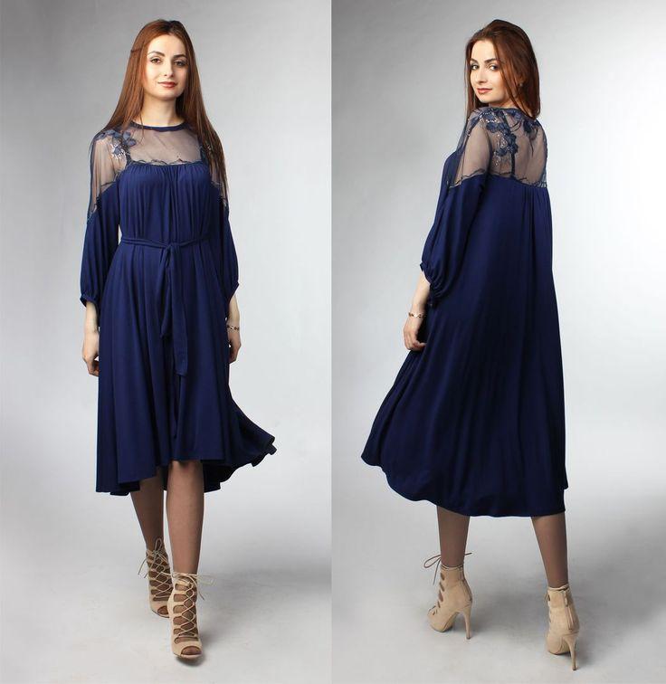 Вечернее платье с вышивкой и пайетками.. Цена: 7000р. Размеры 40, 42, 44, 46, 48, 50 . Состав: верхнее платье: полиэстр 100%  нижнее платье: 95% вискоза, 5% лайкра Заказ на сайте : www.anaitmheyan.ru WhatsApp/viber : 89032069710  Нарядное свободное платье из вискозного трикотажа с верхом из сетки с вышивкой. Рукав свободный со сборкой по низу, на манжете, спереди короче чем сзади. Платье сзади длиннее, чем спереди. Платье с поясом и без пояса - два совершенно разных…