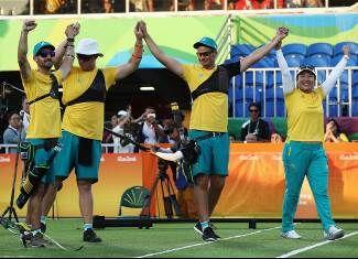 Bronze Medal - Tyack, Ryan, Worth, Taylor, Potts, Alec - Archery - Australia - Men's Individual, Men's Team. First medal for Rio 2016 Australian team