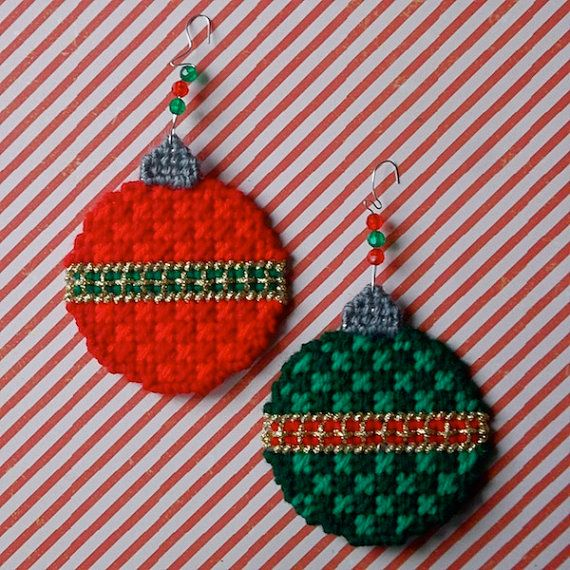 "Plastic Canvas: Christmas Ball Ornaments (set of 2) -- ""Ready, Set, Sew!"" by Evie"