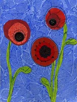 I love the texture of these poppies!  The buttons are a fabulous touch!