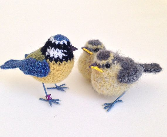 Baby bluetit crochet bird art sculpture by FreshlyKnittedThings                                                                                                                                                                                 More