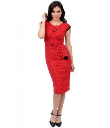 A timeless treasure, dames! A stunning deep red frock in dainty black dots, complete in proper Stop Staring! fashion. Th...Price - $166.00-N7xrgS03