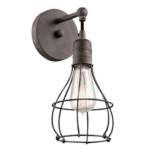Kichler Lighting Industrial Cage Weathered Zinc Sconce LightModern LightingWall