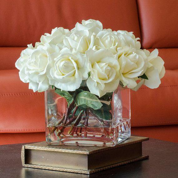 White Real Touch Rose Arrangement with Square Glass Vase Artificial Flowers Faux Arrangement for Home Decor Centerpiece