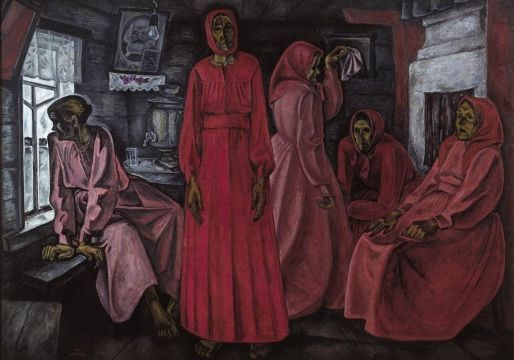 Popkov, Viktor Efimovich  Memories. Widows 1966 oil on canvas 160 х 324