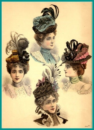 Victorian hats, fashion plate  - 1895. Interesting details, embellishments.